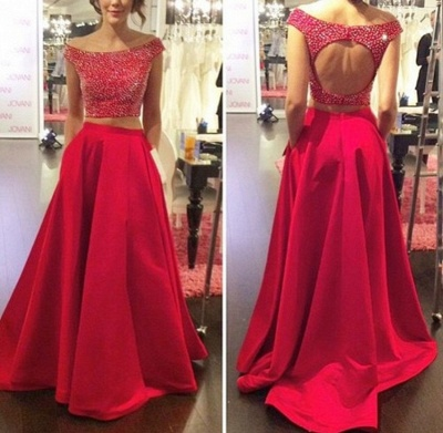 Red Two Piece Off Shoulder Prom Dress Back Hole Bateau A-line Evening Dresses with Pocket_4