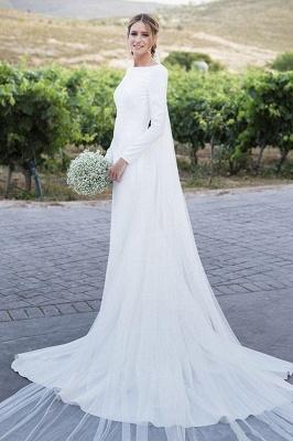 Stunning Long Sleeve Sheath Wedding Dresses Backless Wholesale Satin Bridal Gowns Online_1