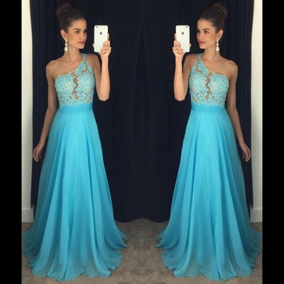 Cute One Shoulder Beading Prom Dress A-Line Lace Sparkly Formal Occasion Dresses_3
