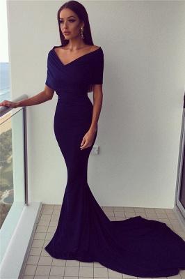 Elegant Mermaid Evening Dresses  Arround Shoulder V-neck Formal Dress  BA7342_1