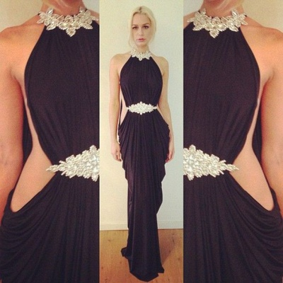 Halter Ruffles Sexy evening Dress  Crystal Beading Popular Party Dress_2