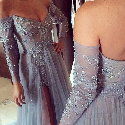 Tiered Sexy Tulle Long Sleeve Evening Dresses Open Back Alluring Sweep Train Special Occassion Dresses_2