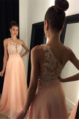 Cute One Shoulder Beading Prom Dress A-Line Lace Sparkly Formal Occasion Dresses_1