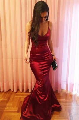 Spaghetti Straps Mermaid  Formal Dresses Burgundy Sexy Sleeceless  Evening Ball Dress FB0222_3