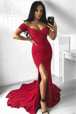 Off The Shoulder Red Evening Dress  | Side Slit Sexy Formal Ball Dress with Long Train_1