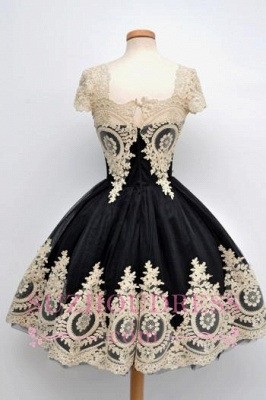 Lace Appliques Black Short Vintage Capped-Sleeves Homecoming Dresses  LY26_5