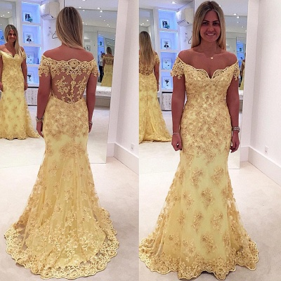 Off The Shoulder Lace Appliques Prom Dresses  Yellow Sheer Back Evening Gown_3