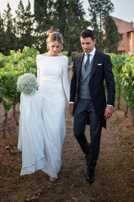 Stunning Long Sleeve Sheath Wedding Dresses Backless Wholesale Satin Bridal Gowns Online_3