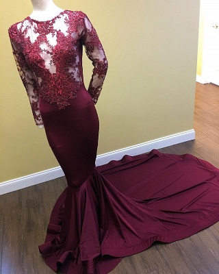 See Through Beaded Lace Appliques Burgundy Prom Dresses  Mermaid Long Sleeve Evening Gown_3