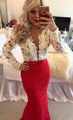 Lace Popular Beadings Floor-Length Long-Sleeves Mermaid Prom Dresses_3