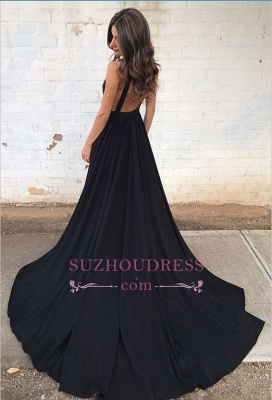 Black Backless  Formal Dresses  Sleeveless V-neck Straps A-line Sexy Prom Dress SP0342_3