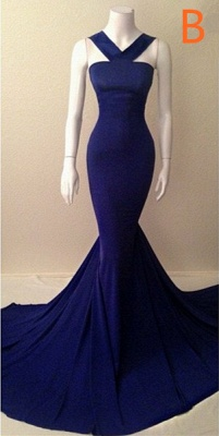 Blue Sexy Mermaid  Evening Dresses Sleeveless Glorious Court Train Gowns TB0026_2