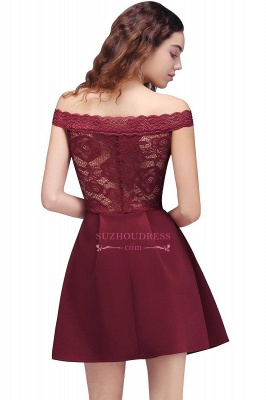 Lace Burgundy Off-the-Shoulder A-Line Short Homecoming Dresses_3