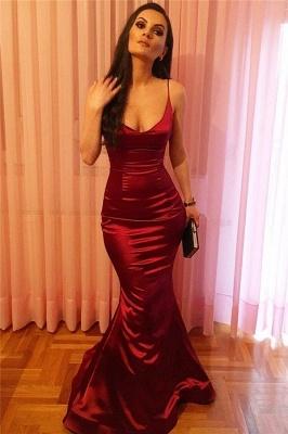 Spaghetti Straps Mermaid  Formal Dresses Burgundy Sexy Sleeceless  Evening Ball Dress FB0222_1