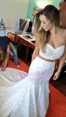 Beading Sexy Sweetheart Mermaid Lace Two-Piece Wedding Dresses_1