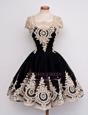 Lace Appliques Black Short Vintage Capped-Sleeves Homecoming Dresses  LY26_4