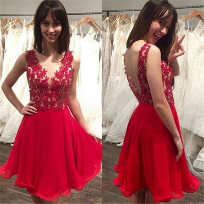 New Arrival Red Short Homecoming Gowns A-Line Lace Applique Mini Cocktail Gowns_1