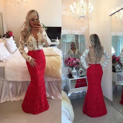 Lace Popular Beadings Floor-Length Long-Sleeves Mermaid Prom Dresses_4