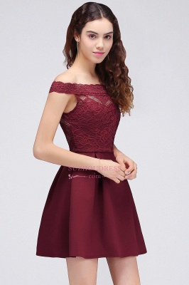 Lace Burgundy Off-the-Shoulder A-Line Short Homecoming Dresses_5