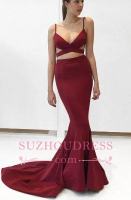Two Piece Burgundy Prom Dresses Sexy V-Neck Mermaid Long Evening Dress_1