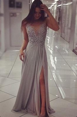 Beadings Split Sexy Evening Gown  Gorgeous Sleeveless Prom Dress BA6383_1