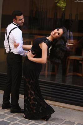 Elegant Black Floor Length Prom Dress New Arrival Custom Made  Plus Size Evening Dress_2