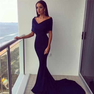 Elegant Mermaid Evening Dresses  Arround Shoulder V-neck Formal Dress  BA7342_3