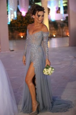 Tiered Sexy Tulle Long Sleeve Evening Dresses Open Back Alluring Sweep Train Special Occassion Dresses_1