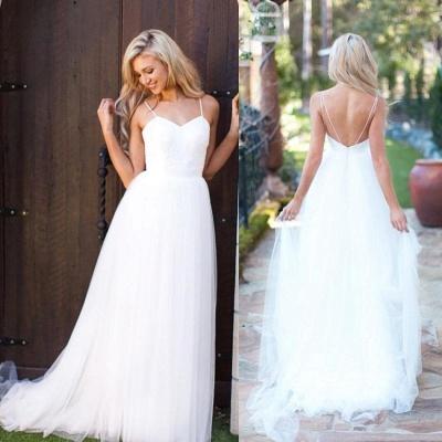 Spaghetti Strap Tulle Summer Wedding Dress New Arrival  A-Line Long Bridal Dresses_6