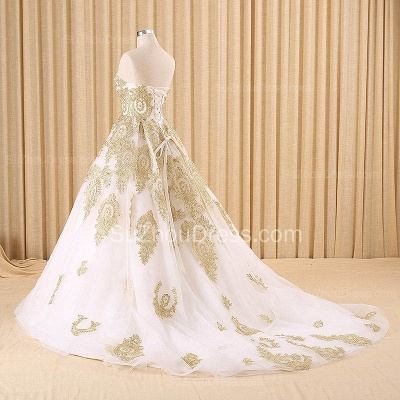 Vintage Swwetheart Gold Lace Ball Gown Wedding Dress White Tulle Latest Formal Long Bridal Gowns_2