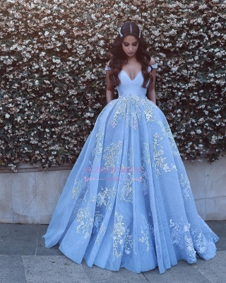 Lace Floor Length Off The Shoulder Formal Dress  Baby Blue Elegant Evening Dress BA6445_4