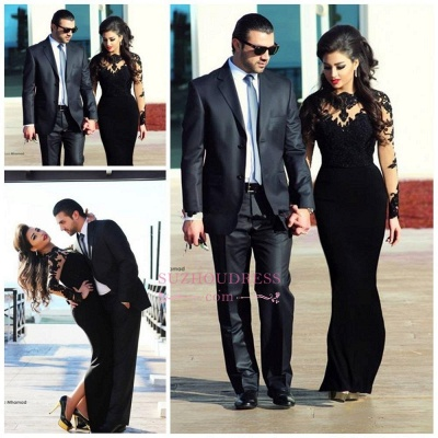 Lace High Collar long Sleeve Evening Dress Elegant Long Black  Prom Dress_3