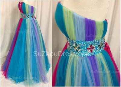 Rainbow Sweetheart Tulle Ball Gown Prom Dress with Beadings Colorful Floor Length Lace-Up Evening Dresses_3