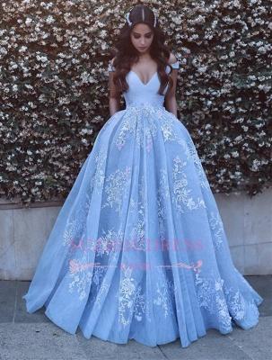 Lace Floor Length Off The Shoulder Formal Dress  Baby Blue Elegant Evening Dress BA6445_3