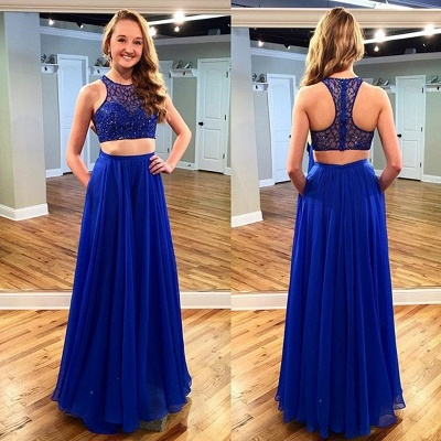 Two Piece Royal Blue Beading Evening Dresses Sleeveless  Prom Dress with Pocket_3