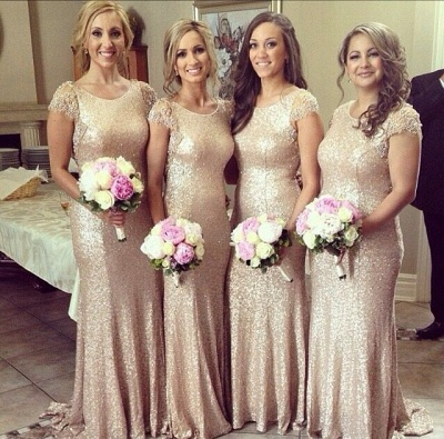 Sexy Sequined Scoop Party Dress  Cap Sleeve Sweep Train Beading Bridesmaid Dresses_2