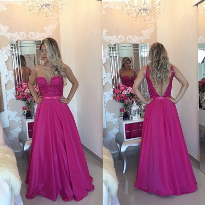 Latest Fushia Open Back Prom Dress with Belt A-Line Floor Length Evening Gowns_3