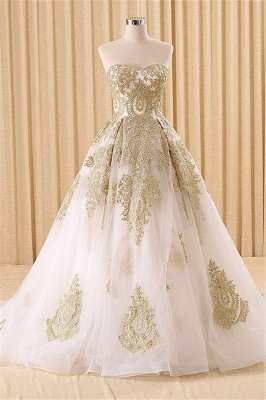 Vintage Swwetheart Gold Lace Ball Gown Wedding Dress White Tulle Latest Formal Long Bridal Gowns_1