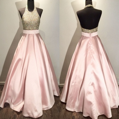 New Arrival Halter Crystal  Evening Gown A-Line Backless Prom Dress GA043_3