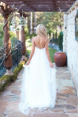 Spaghetti Strap Tulle Summer Wedding Dress New Arrival  A-Line Long Bridal Dresses_3