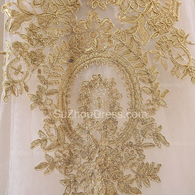 Vintage Swwetheart Gold Lace Ball Gown Wedding Dress White Tulle Latest Formal Long Bridal Gowns_5