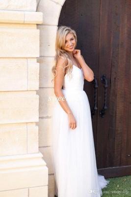 Spaghetti Strap Tulle Summer Wedding Dress New Arrival  A-Line Long Bridal Dresses_5