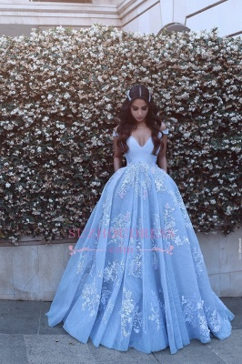 Lace Floor Length Off The Shoulder Formal Dress  Baby Blue Elegant Evening Dress BA6445_5