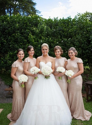 Sexy Sequined Scoop Party Dress  Cap Sleeve Sweep Train Beading Bridesmaid Dresses_3