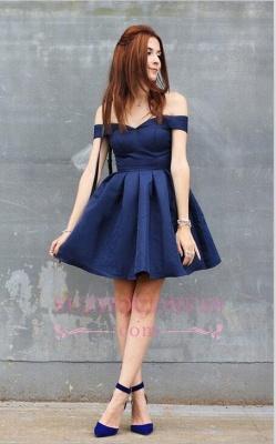 Short A-line Dark-Navy Off-the-shoulder Modest Homecoming Dress_3