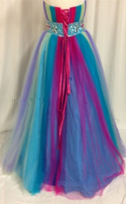 Rainbow Sweetheart Tulle Ball Gown Prom Dress with Beadings Colorful Floor Length Lace-Up Evening Dresses_2