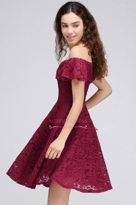 Off-the-Shoulder Burgundy Lace Short Sheath Homecoming Dresses_4