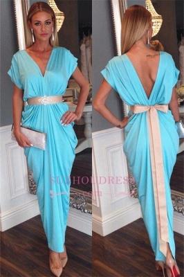 Short Sleeves Beaded Bowknot Belt Party Dress Blue Ruffles V-neck Open Back Evening Dress JJ0021_2
