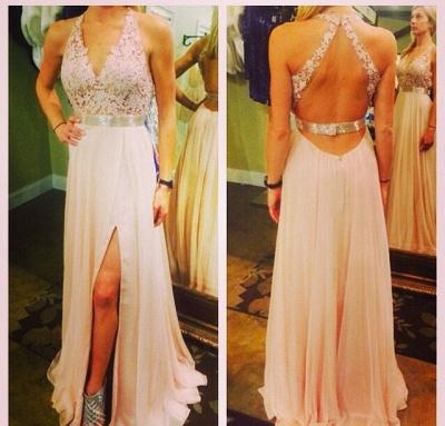 V-Neck Halter Sash Evening Dresses Lace Backless Sexy  Prom Dresses_2