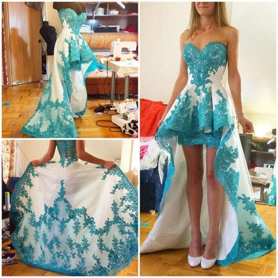 A-Line Sweetheart Hi-Lo  Prom Dress Glamorous Lace Applique Formal Occasion Dress_3